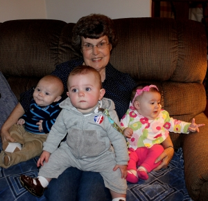 Mom with your 3 newest great grandbabies