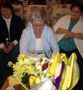 Deb opening her sunshine basket of YELLOW
