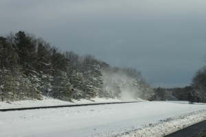Blowing snow along the road to New Jersey