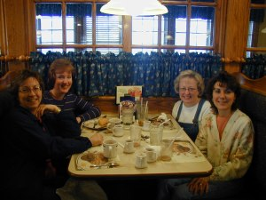 Girls breakfast out during a visit to PA in March 2003