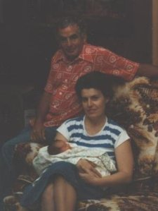 Grandma and Grandpa Wells with baby Kimberly.
