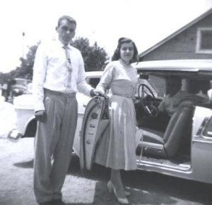 Dad and Mom on their wedding day. July 7, 1956