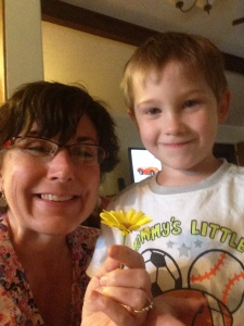 Becky and Joe's grandson, Layne Joseph ... he picked a flower for 'Aunt Debbie' ... Sha!
