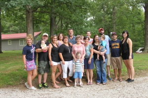 My Mom and our family at the Wells Reunion